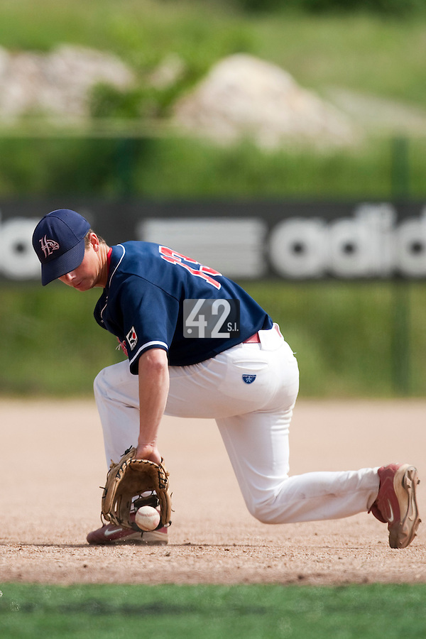 23 May 2009: Anthony Piquet of La Guerche eyes the ball during the 2009 challenge de France, a tournament with the best French baseball teams - all eight elite league clubs - to determine a spot in the European Cup next year, at Montpellier, France. Rouen wins 6-2 over La Guerche.