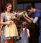 "Katharine McPhee and Drew Gehling during her curtain call bows as she returns to ""Waitress"" at the Brooks Atkinson Theatre on November 25, 2019 in New York City."