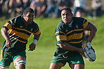 "Pukekohe prop Matekitonga Moeakiola looks to pass wide as Kitioni Vilamu arrives in support. CMRFU Counties Power ""Game of the Week' between Bombay & Pukekohe played at Bombay on Saturday 17th May 2008..Pukekohe led 15 - 0 at halftime & went on to win 42 - 5."