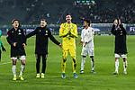 01.12.2019, Volkswagen Arena, Wolfsburg, GER, 1.FBL, VfL Wolfsburg vs SV Werder Bremen<br /> <br /> DFL REGULATIONS PROHIBIT ANY USE OF PHOTOGRAPHS AS IMAGE SEQUENCES AND/OR QUASI-VIDEO.<br /> <br /> im Bild / picture shows<br /> Werder Bremen bejubelt Auswärtssieg bei VfL Wolfsburg, <br /> Yuya Osako (Werder Bremen #08), <br /> Johannes Eggestein (Werder Bremen #24), <br /> Jiri Pavlenka (Werder Bremen #01), <br /> Theodor Gebre Selassie (Werder Bremen #23), <br /> Leonardo Bittencourt (Werder Bremen #10), <br /> <br /> Foto © nordphoto / Ewert