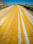 "Multiple striping on the pavement, Tonopah., Nev.<br /> <br /> (""Yellow brick road"")"