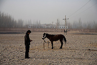 A horse for sale stands alone at the Sunday Animal Market outside Kashgar, Xinjiang, China.