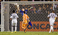 Puerto Rico Islanders goalkeeper Bill Gaudette (1) with a tremendous save to his right. The Puerto Rico Islanders defeated the LA Galaxy 4-1 during CONCACAF Champions League group play at Home Depot Center stadium in Carson, California on Tuesday July 27, 2010.
