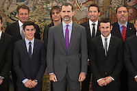 King Felipe VI of Spain receives moto riders Marc Marquez and Toni Bou during Royal Audience at Zarzuela Palace in Madrid, Spain. November 20, 2014. (ALTERPHOTOS/Victor Blanco) /NortePhoto.com<br />