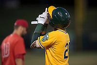 AZL Athletics designated hitter Danny Bautista (20) celebrates after reaching base during an Arizona League game against the AZL Angels at Tempe Diablo Stadium on June 26, 2018 in Tempe, Arizona. The AZL Athletics defeated the AZL Angels 7-1. (Zachary Lucy/Four Seam Images)