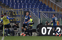 Calcio, Serie A: Roma vs Inter. Roma, stadio Olimpico, 19 marzo 2016.<br /> FC Inter&rsquo;s Ivan Perisic, center, celebrates with teammates after scoring during the Italian Serie A football match between Roma and FC Inter at Rome's Olympic stadium, 19 March 2016. The game ended 1-1.<br /> UPDATE IMAGES PRESS/Isabella Bonotto