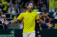 BOGOTA, COLOMBIA - MARCH 7: Robert Farah of Colombia celebrates after win their match with Sebastian Cabal against Horacio Ceballos and Maximiliano Gonzalez during the game 3 of their Copa Davis 2020 in Bogota Colombia on March 7, 2020. (Photo by Leonardo Munoz/VIEWpress via Getty Images)