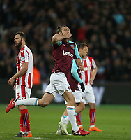 West Ham United's Andy Carroll celebrates scoring his side's first goal <br /> <br /> Photographer Rob Newell/CameraSport<br /> <br /> The Premier League - West Ham United v Stoke City - Monday 16th April 2018 - London Stadium - London<br /> <br /> World Copyright &copy; 2018 CameraSport. All rights reserved. 43 Linden Ave. Countesthorpe. Leicester. England. LE8 5PG - Tel: +44 (0) 116 277 4147 - admin@camerasport.com - www.camerasport.com