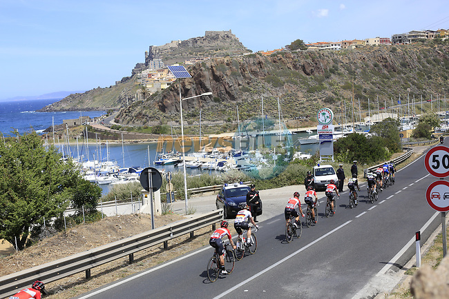 The peloton approach Castelsardo along the Costa Smeralda during Stage 1 of the 100th edition of the Giro d'Italia 2017, running 206km from Alghero to Olbia, Sardinia, Italy. 4th May 2017.<br /> Picture: Ann Clarke | Cyclefile<br /> <br /> <br /> All photos usage must carry mandatory copyright credit (&copy; Cyclefile | Ann Clarke)<br /> <br /> All photos usage must carry mandatory copyright credit (&copy; Cyclefile | LaPresse)