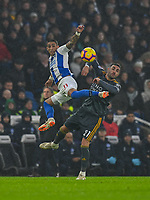 Leicester City's Vicente Iborra (right) battles with Brighton & Hove Albion's Anthony Knockaert (left) <br /> <br /> Photographer David Horton/CameraSport<br /> <br /> The Premier League - Brighton and Hove Albion v Leicester City - Saturday 24th November 2018 - The Amex Stadium - Brighton<br /> <br /> World Copyright © 2018 CameraSport. All rights reserved. 43 Linden Ave. Countesthorpe. Leicester. England. LE8 5PG - Tel: +44 (0) 116 277 4147 - admin@camerasport.com - www.camerasport.com