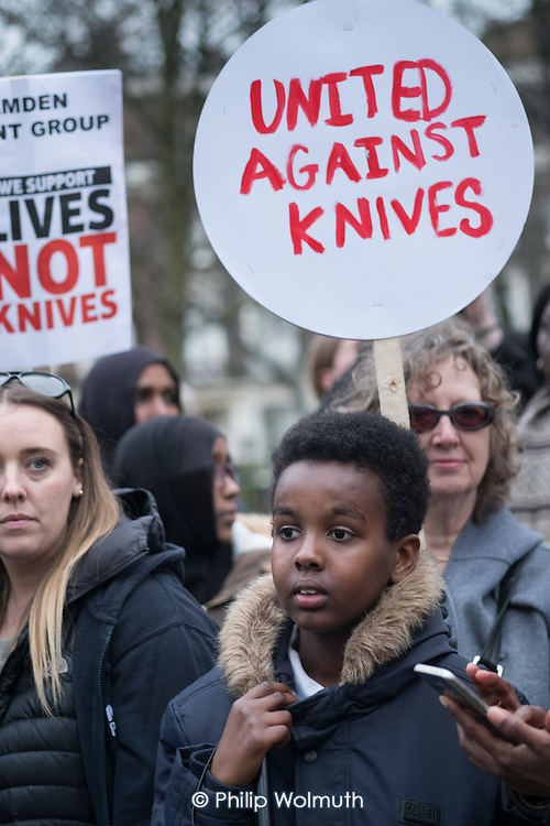Camden Against Violence silent march by community campaigners and Camden NEU members mobilising against knife crime following a series of fatal stabbings in the borough .