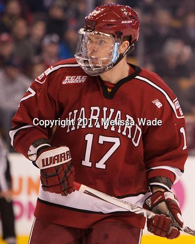 Sean Malone (Harvard - 17) - The Harvard University Crimson defeated the Boston University Terriers 6-3 (EN) to win the 2017 Beanpot on Monday, February 13, 2017, at TD Garden in Boston, Massachusetts.