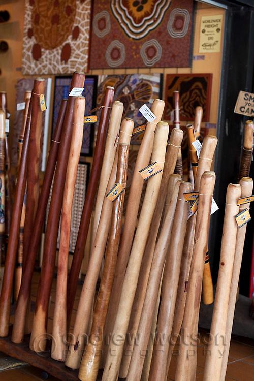 Didgeridoos at indigineous arts store on the Esplanade.  Cairns, Queensland, Australia