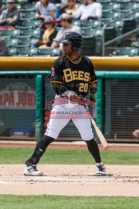 Rey Navarro (20) of the Salt Lake Bees at bat against the Sacramento River Cats in Pacific Coast League action at Smith's Ballpark on May 01, 2016 in Salt Lake City, Utah. Sacramento defeated Salt Lake 16-6.  (Stephen Smith/Four Seam Images)
