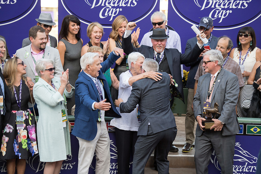 ARCADIA, CA - NOV 04: The Oscar Performance connections celebrate after winning the Breeders' Cup Juvenile Turf at Santa Anita Park on November 4, 2016 in Arcadia, California. (Photo by Douglas DeFelice/Eclipse Sportswire/Breeders Cup)