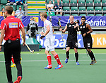 The Hague, Netherlands, June 08: Hugo Inglis #29 of New Zealand reacts to a call by the umpire during the field hockey group match (Men - Group B) between the Black Sticks of New Zealand and Germany on June 8, 2014 during the World Cup 2014 at Kyocera Stadium in The Hague, Netherlands. Final score 3-5 (1-3) (Photo by Dirk Markgraf / www.265-images.com) *** Local caption *** Hugo Inglis #29 of New Zealand, Jared Panchia #14 of New Zealand
