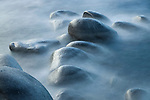 A picture of mist and rocks along the shore of Lake Tahoe, CA.
