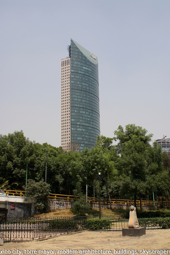 The Torre mayor on the Paseo de la Reforma in Mexico City. This 59-storey building designed by Canadian architect Heberhard Zeidler is the tallest building in Latin America. It was inaugurated in 2003.