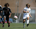 11 September 2005: Justin Moose (r) gets past Nick LaBrocca (8) and sends a pass to a teammate. The Wake Forest Demon Deacons defeated the Rutgers Scarlet Knights 5-1 in an NCAA Divison I men's soccer game at Fetzer Field in Chapel Hill, NC.
