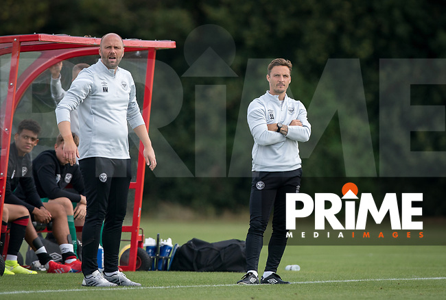 Brentford B Manager Neil MacFarlane & Brentford B coach Sam Saunders during the behind closed doors friendly between Brentford B and Wycombe Wanderers at Brentford Football Club Training Ground & Academy, 100 Jersey Road, TW5 0TP, United Kingdom on 3 September 2019. Photo by Andy Rowland.