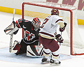 Collins scored on Geragosian - The Boston College Eagles defeated Northeastern University Huskies 5-3 on Saturday, November 19, 2005, at Kelley Rink in Conte Forum at Chestnut Hill, MA.