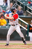 June 3, 2009:  Second Baseman Brooks Conrad of the Gwinnett Braves at bat during a game at Frontier Field in Rochester, NY.  The Gwinnett Braves are the International League Triple-A affiliate of the Atlanta Braves.  Photo by:  Mike Janes/Four Seam Images