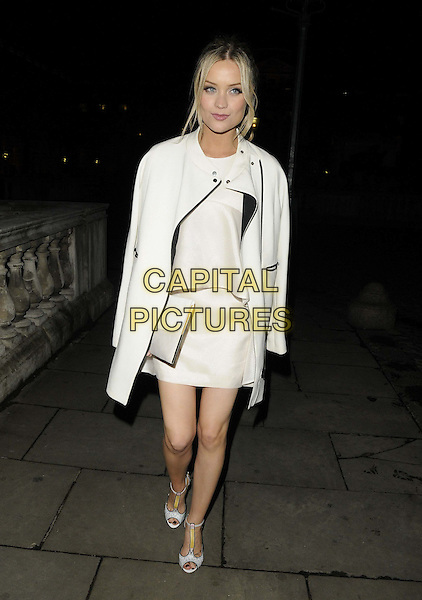 Laura Whitmore<br /> The Esquire magazine 2013 summer party in association with Stella Artois, Somerset House, the Strand, London, England.<br /> May 29th, 2013<br /> full length white dress jacket coat over shoulder  <br /> CAP/CAN<br /> &copy;Can Nguyen/Capital Pictures