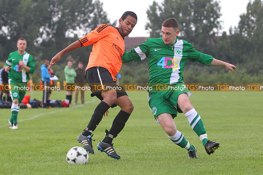 Boston Celtic (green/white) vs Wojak Sunday - Hackney & Leyton Sunday League Football at South Marsh, Hackney Marshes, London - 29/09/13 - MANDATORY CREDIT: Gavin Ellis/TGSPHOTO - Self billing applies where appropriate - 0845 094 6026 - contact@tgsphoto.co.uk - NO UNPAID USE