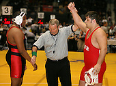 Ricky Derival and Jared Veruto wrestle at the 285 weight class during the NY State Wrestling Championships at Blue Cross Arena on March 8, 2008 in Rochester, New York.  (Copyright Mike Janes Photography)