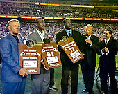 Washington Redskins legends are introduced as the newest inductees in the Ring of Fame in halftime ceremonies during the game between the Dallas Cowboys and the Washington Redskins.  Pictured, from left to right: former head coach Joe Gibbs, former wide receiver Art Monk (81), former defensive end Dexter Manley (72), NBC4 sportscaster George Michael, and owner Dan Snyder.  The Cowboys won the game 27 - 21.<br /> Credit: Arnie Sachs / CNP