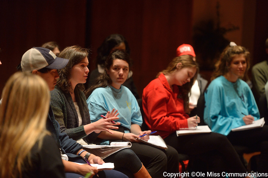 The creative team for Trio ConcertDance talking to students.  Photo by Kevin Bain/Ole Miss Communications