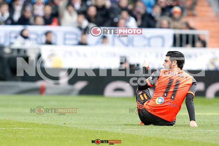 Real Sociedad's Carlos Vela injured during La Liga match.January 31,2015. (ALTERPHOTOS/Acero) /NortePhoto<br />