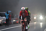 Michael Storer (AUS) Team Sunweb and Mikel Iturria (ESP) Euskadi-Murias from the breakaway in the dark fog on the category 3 climb over Zaratoma during another wet Stage 4 of the Tour of the Basque Country 2019 running 163.6km from Vitoria-Gasteiz to Arrigorriaga, Spain. 11th April 2019.<br /> Picture: Colin Flockton | Cyclefile<br /> <br /> <br /> All photos usage must carry mandatory copyright credit (&copy; Cyclefile | Colin Flockton)