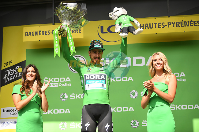 Peter Sagan (SVK) Bora-Hansgrohe retains the points Green Jersey at the end of Stage 12 of the 2019 Tour de France running 209.5km from Toulouse to Bagneres-de-Bigorre, France. 18th July 2019.<br /> Picture: ASO/Pauline Ballet | Cyclefile<br /> All photos usage must carry mandatory copyright credit (© Cyclefile | ASO/Pauline Ballet)