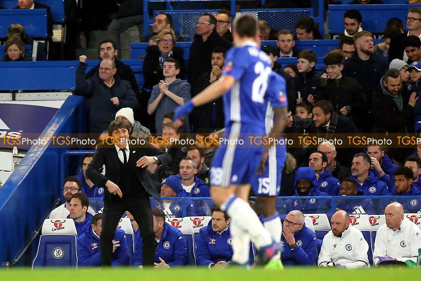 Chelsea Manager, Antonio Conte shouts at his players as they celebrate their opening goal during Chelsea vs Manchester United, Emirates FA Cup Football at Stamford Bridge on 13th March 2017