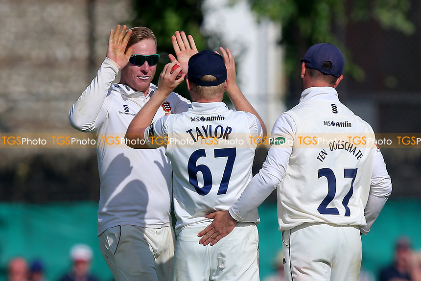 Simon Harmer of Essex celebrates taking the wicket of Sam Curran during Surrey CCC vs Essex CCC, Specsavers County Championship Division 1 Cricket at Guildford CC, The Sports Ground on 11th June 2017