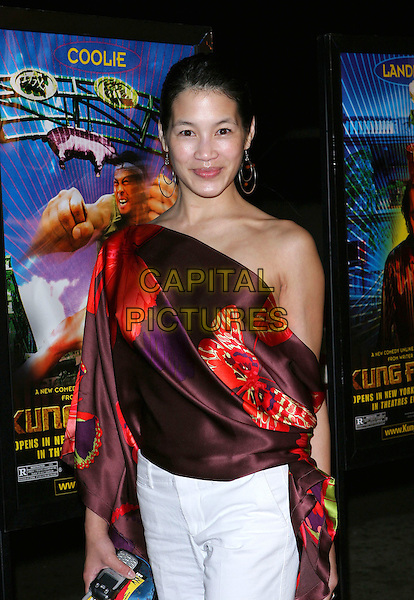 "EUGENIA YUAN.""Kung Fu Hustle"" Los Angeles Premiere held at the ArcLight Cineramadome, Hollywood, California..Photo Credit: Jacqui Wong/AdMedia.March 29th, 2005.half length silk satin off the shoulder brown and red top.www.capitalpictures.com.sales@capitalpictures.com.© Capital Pictures."