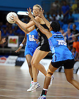 22.01.2015 Silver Ferns Camilla Lees and Fiji's Teimumu Vukinavanua in action during the netball test match between the Silver Ferns and Fiji at the Vodafone Arena in Suva Fiji. Mandatory Photo Credit ©Michael Bradley.