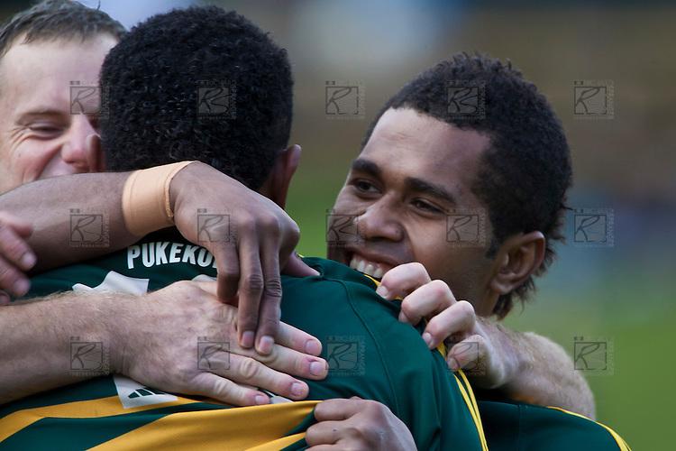 Peni Buakula and Robert Denninson congratulate Seremaia Tagicakibau after he scored Pukekohe's first try. Counties Manukau McNamara Cup Premier Club Rugby final between Pukekohe andWaiuku, held at Bayer Growers Stadium, on Saturday July 17th. Waiuku won 25 - 20.