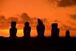 Chile, Easter Island: Statues or moai on a platform or ahu called Ahu Tahai near the town of Hanga Roa..Photo #: ch208-32649.Photo copyright Lee Foster www.fostertravel.com lee@fostertravel.com 510-549-2202