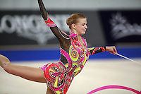 September 21, 2007; Patras, Greece;  Olga Kapranova of Russia balances with ribbon during the All-Around final at 2007 World Championships Patras.  Olga placed 3rd in the AA to qualify Russia for 2nd of 2 positions in the individual All-Around competition at Beijing 2008.  Photo by Tom Theobald. .