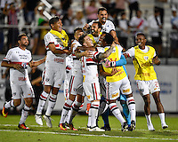 Orlando, FL - Saturday Jan. 21, 2017: São Paulo celebrate their 4-3 penalty shootout victory during the Florida Cup Championship match between São Paulo and Corinthians at Bright House Networks Stadium. The game ended 0-0 in regulation with São Paulo defeating Corinthians 4-3 on penalty kicks.