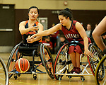 MARSHALL, MN - MARCH 15:  Stella McMillan #4 from Illinois has the ball knocked from her hands by Rosalie Lalonde #4 from Alabama at the 2018 National Intercollegiate Wheelchair Basketball Tournament at Southwest Minnesota State University in Marshall, MN. (Photo by Dave Eggen/Inertia)