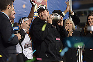 December 7, 2013  (Charlotte, North Carolina)  Florida State Seminoles head coach Jimbo Fisher holds the 2013 ACC Championship trophy after his team defeated the Duke Blue Devils 45-7 at the Bank of America Stadium in Charlotte, NC.  (Photo by Don Baxter/Media Images International)