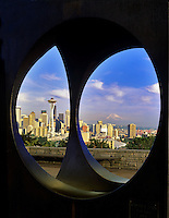 Seattle skyline as seen through sculpture at Kerry Park, Washington