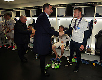 Pictured: Paul Clement congratulates player in the changing room after the game Monday 15 May 2017<br /> Re: Premier League Cup Final, Swansea City FC U23 v Reading U23 at the Liberty Stadium, Wales, UK