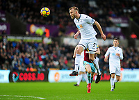 Swansea City's Mike van der Hoorn<br /> <br /> Photographer Ashley Crowden/CameraSport<br /> <br /> The Premier League - Swansea City v Burnley - Saturday 10th February 2018 - Liberty Stadium - Swansea<br /> <br /> World Copyright &copy; 2018 CameraSport. All rights reserved. 43 Linden Ave. Countesthorpe. Leicester. England. LE8 5PG - Tel: +44 (0) 116 277 4147 - admin@camerasport.com - www.camerasport.com