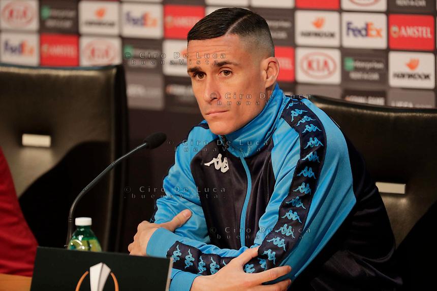 Press Conference Napoli at eve of Europe League quarter final 2 leg<br /> Jose Callejon of Napoli