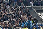 09.08.2019, Merkur Spiel-Arena, Duesseldorf, GER, DFB-Pokal, KFC Uerdingen 05 vs Borussia Dortmund , DFL regulations prohibit any use of photographs as image sequences and/or quasi-video<br /> <br /> im Bild Schlussjubel / Schlußjubel / Emotion / Freude / die Mannschaft von Uerdingen bei den Fans<br /> <br /> Foto © nordphoto/Mauelshagen