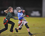 The Panthers' Slayden Lee is chased by the The Eagles' Grace Freeman in Oxford Park Commission flag football, at FNC Park in Oxford, Miss. on Tuesday, November 19, 2013.